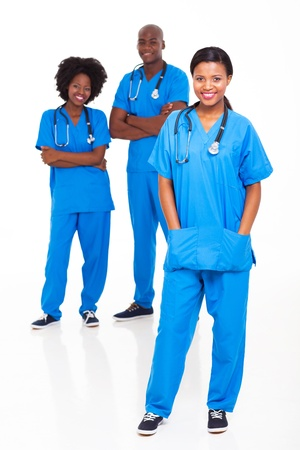 group of black medical workers portrait on white background photo