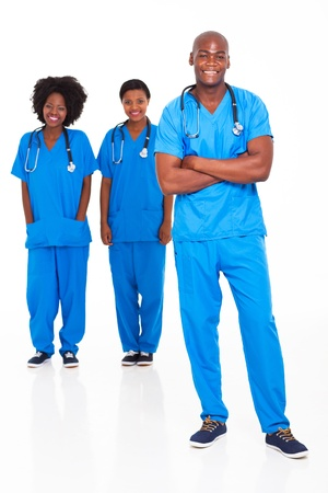 african american male: group of african medical doctors and nurses on white background