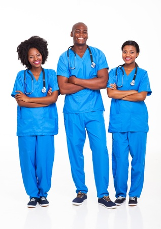 group of african medical professionals full length portrait on white photo