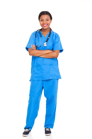 doctor and nurse: pretty african american female intern nurse isolated on white background
