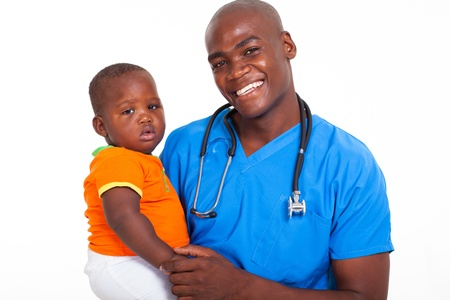 child patient: portrait of afro american male pediatrician with young patient