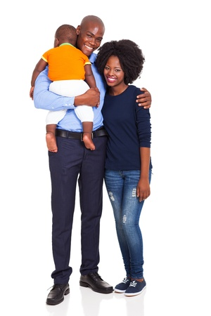 child couple: cute young african couple with their child isolated on white