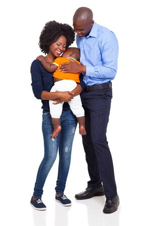 happy young african family full lenght portrait isolated on white background