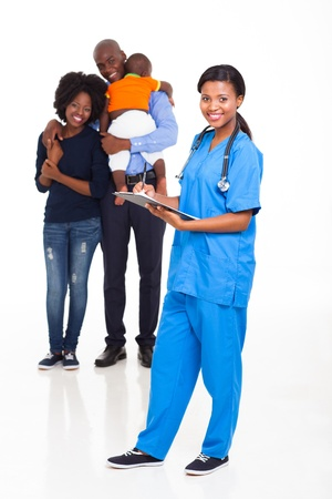 black nurse: african american female nurse with young family on background