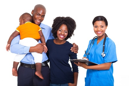 doctor visit: beautiful afican female healthcare worker with young family isolated on white