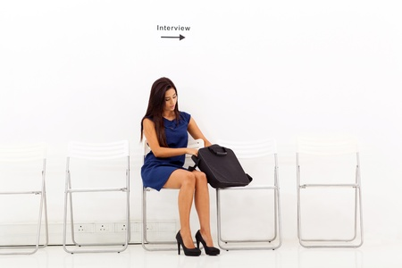 beautiful young business woman waiting for job interview Stock Photo - 18983537