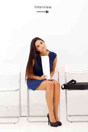pretty young lady waiting for job interview Stock Photo - 18983529