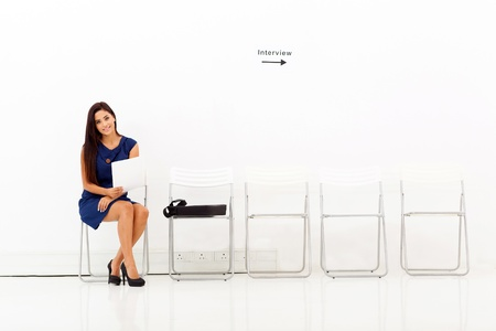 well dressed girl: beautiful young business woman preparing for job interview Stock Photo