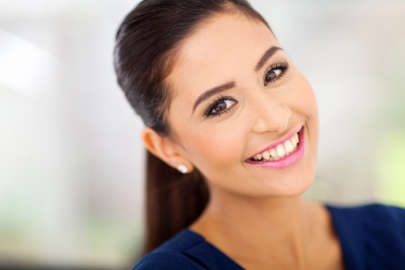 attractive lady: portrait of happy indian woman close up
