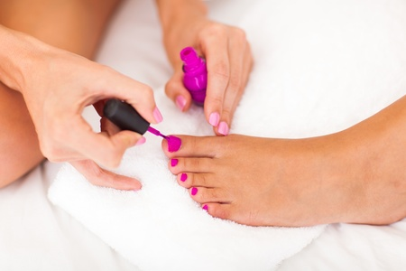 two women painting toe polish Stock Photo - 18905725