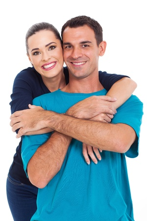 married together: portrait of young happy smiling couple isolated over white background