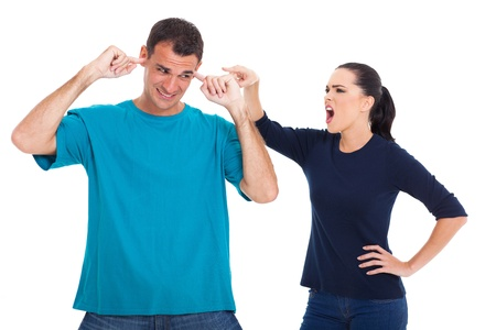 problematic: unhappy couple having an argument isolated on whit background Stock Photo