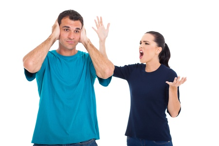 girlfriend shouting to her boyfriend isolated on white background photo
