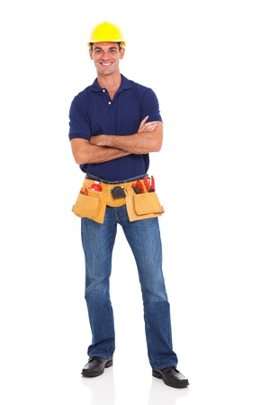 portrait of happy handyman with tool belt isolated on white background photo