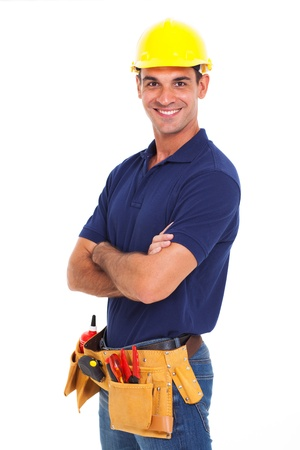portrait of confident handyman crossed arms isolated on white Stock Photo - 18991964