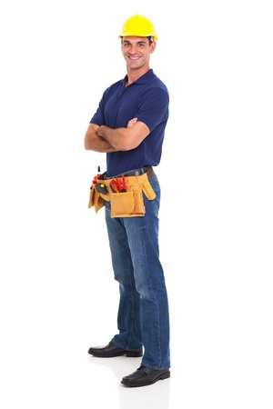 builder: portrait of happy handyman isolated on white background