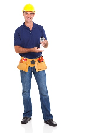 cctv male installer isolated on white background photo