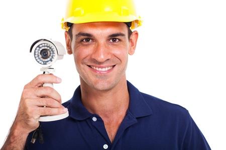 installer: portrait of happy cctv system installer close up Stock Photo