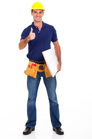 experienced carpenter giving thumb up isolated on white Stock Photo - 18992082