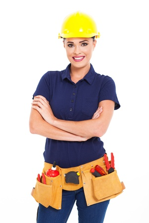 half  length: beautiful female construction contractor half length isolated on white
