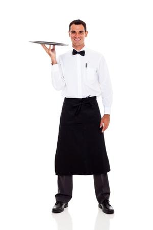 delantal: feliz camarero retrato de cuerpo entero aislados en blanco