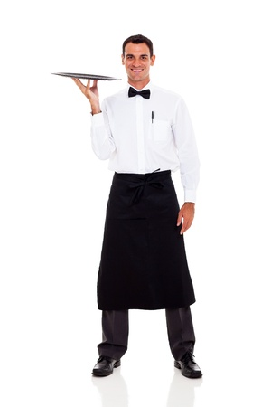 aprons: happy waiter full length portrait isolated on white