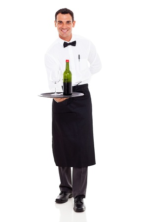 uniform attire: smiling restaurant sommelier holding tray of wine and glass