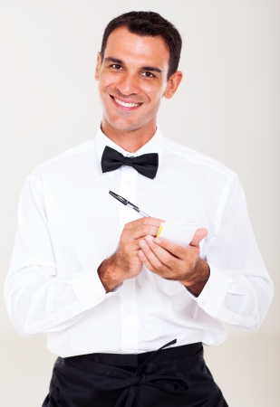 half dressed: friendly waiter taking order from customer