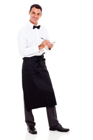uniform attire: smiling young waiter taking orders