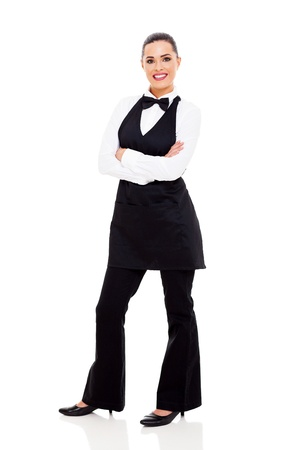 beautiful young waitress full length portrait on white photo