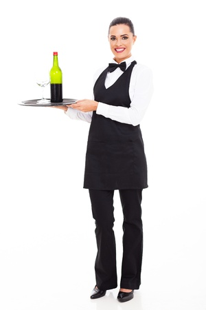 serving tray: pretty waitress sommelier with tray of wine and glass