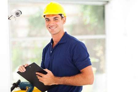 happy cctv camera technician after installation Stock Photo - 18991795