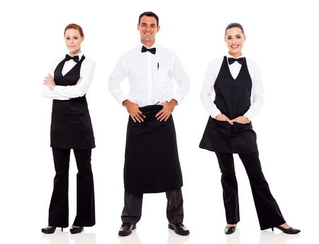 group of waiter and waitress full length portrait on white photo