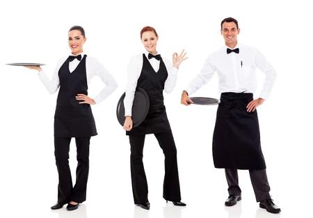 číšník: skupina přátelský personál restaurace izolovaných na bílém