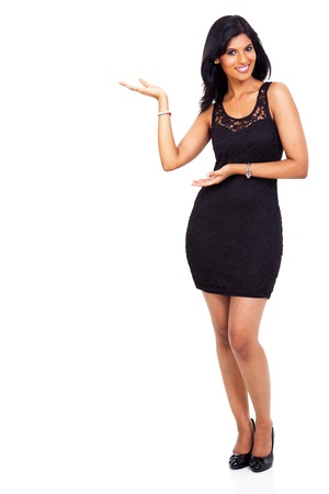 full length woman: portrait of attractie young indian woman presenting on white background