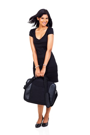 beautiful businesswoman holding briefcase on white background photo