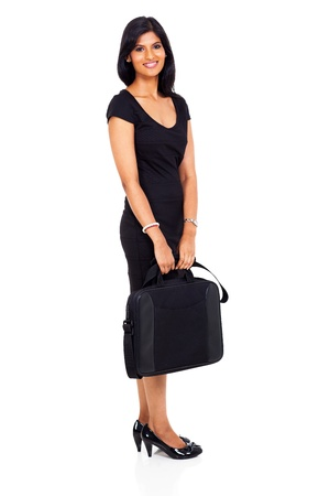 confident businesswoman with briefcase isolated on white photo