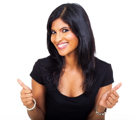 thumbs up business: happy businesswoman giving thimbs up over white background Stock Photo