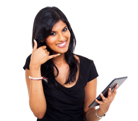 happy indian businesswoman doing call me sign and holding tablet computer