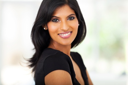 woman face close up: fabulous young indian businesswoman closeup portrait Stock Photo