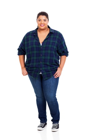 big smile: pretty young overweight woman full length portrait on white