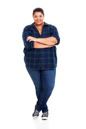 big girl: portrait of lovely large teen girl isolated on white background Stock Photo