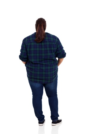 rear view of an overweight woman over white background photo