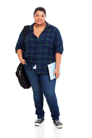 full size: beautiful female plus size college student standing over white background