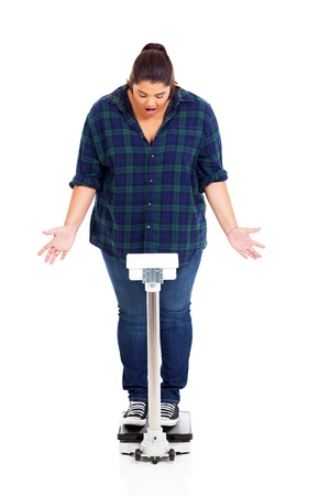 weighting: OMG! overweight woman got shocked when standing on scale weighting herself