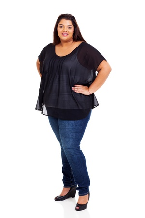 fat girl: lovely female plus size woman full length portrait on white Stock Photo