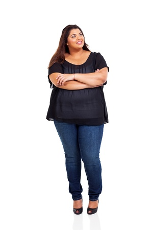 big women: smiling overweight woman looking up isolated on white Stock Photo