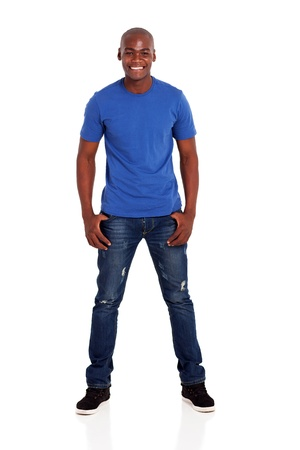 african american male: portrait of casual young african man standing on white background