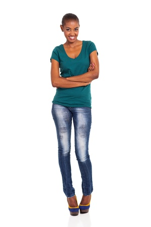 slim african woman standing over white background photo