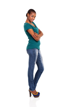 side view of beautiful young african woman on white photo